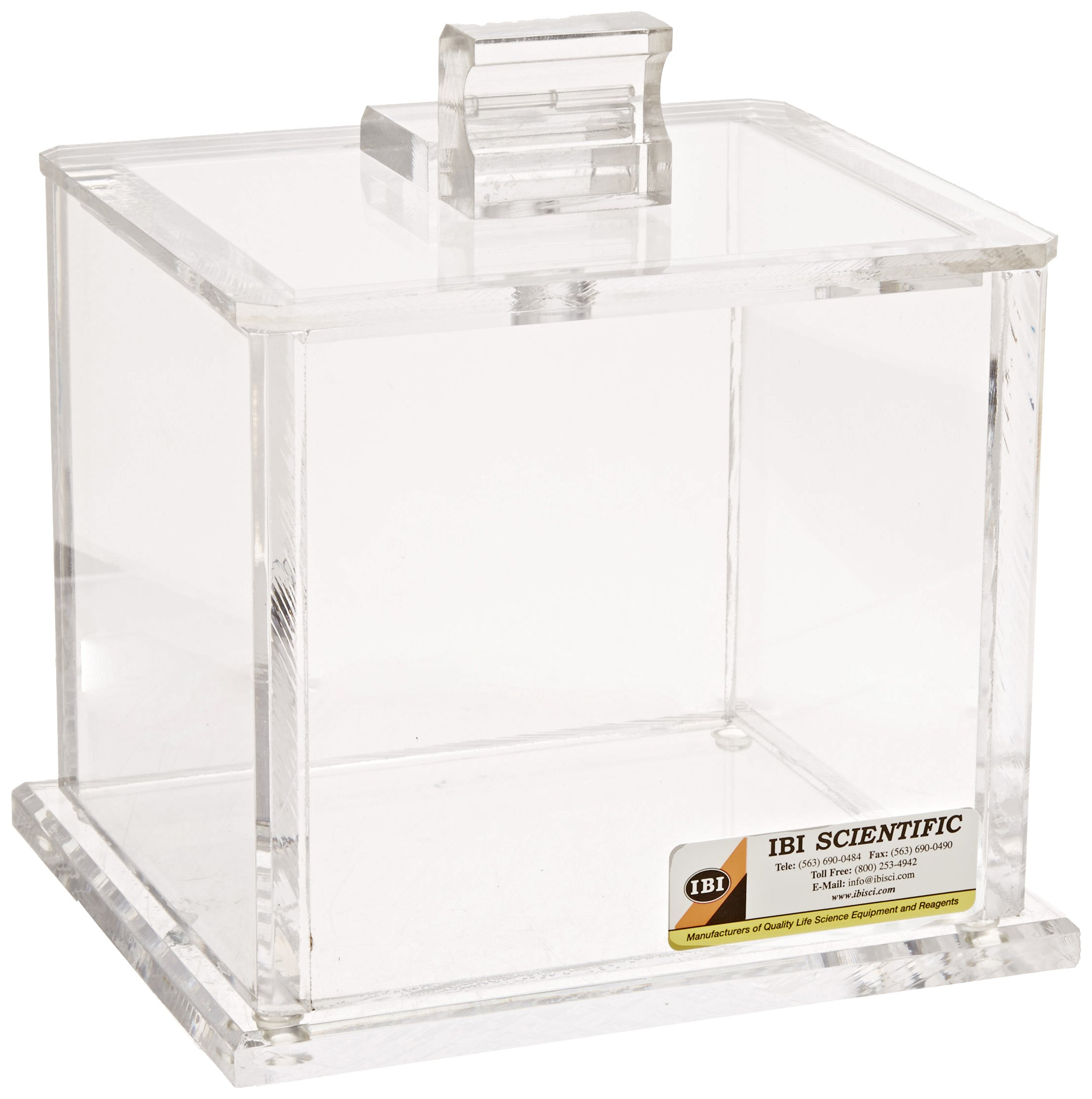 IBI Scientific FL-60 Cast Acrylic Flip-Top Waste Container, Small