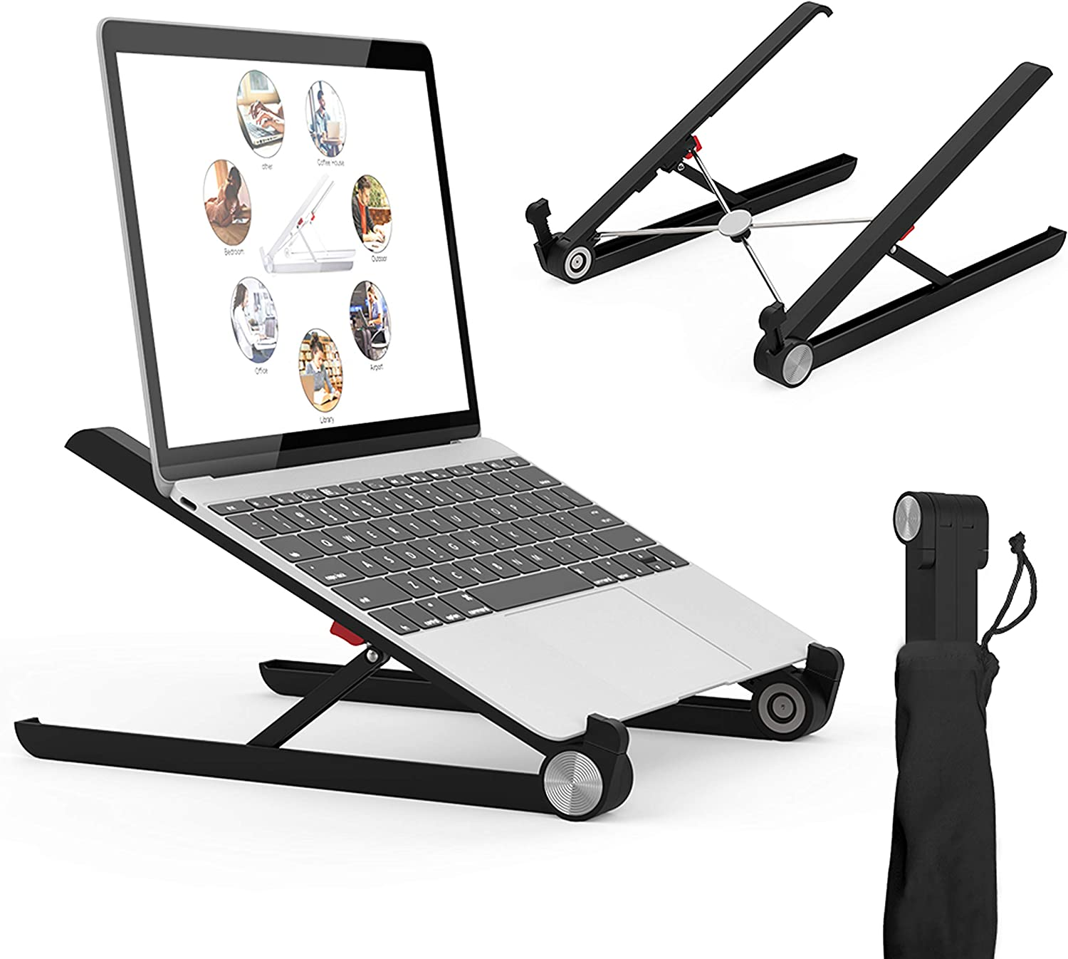 Laptop Stand, Portable Laptop Stand, Foldable Desktop Notebook Holder Mount, Adjustable Eye-Level Ergonomic Design, Portable Laptop Riser for Notebook Computer PC Pad Tablet EURPMASK (BL)
