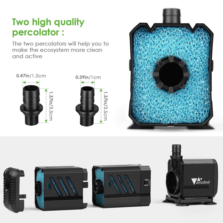 amzdeal Bomba Sumergible 1500L/H 15W con Filtro y 2 boquillas, Bomba de Agua 1.6M Ultra Silenciosa para Pecera Acuario Jardín Estanque Fuente: Amazon.es: ...