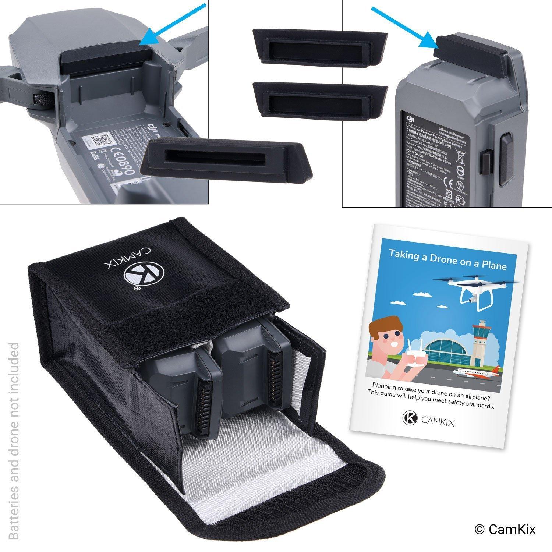 Reisesicherheits-Pack für DJI Mavic Pro / Platinum - Für 2 Akkus - Beinhaltet: LiPo-Sicherheitstasche, 2x Akku-Deckel, 1x Ladeanschluss-Abdeckung und Reise-Anweisungen - Ideales Schutz-Set für Flugreisen CamKix D0340-MBS-2BP