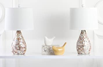 Safavieh Lighting Collection Lauralie Cream Capiz Shell 20.5 Inch Table Lamp  (Set Of 2