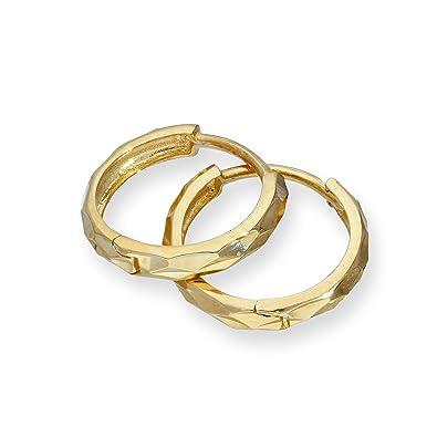 9ct Gold Faceted Huggie Hoops Earrings Bfi8sV