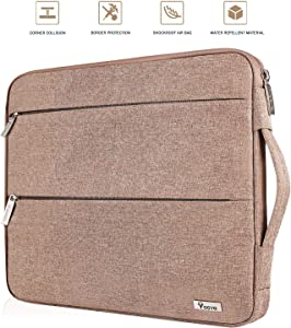 Voova 14-15.6 Inch Laptop Sleeve Case Slim Computer Carry Bag Compatible with MacBook Pro 15.4 16, 15 Surface Book 2/Laptop 3, Asus Acer Hp Chromebook, Waterproof Protective Cover with Pocket, Khaki