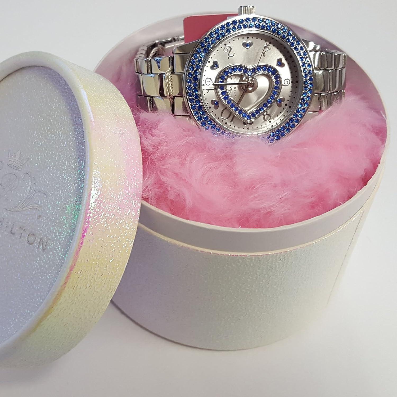 Paris Hilton Silber Edelstahl Blau Fall Herz Fashion Watch bph10044-208
