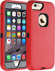 Co-Goldguard Case iPhone 7 Heavy Duty iPhone 8 Case Durable 3 in 1 Hard Cover Dust-Proof Shockproof Drop-Proof Scratch-Resistant Shell (Red)