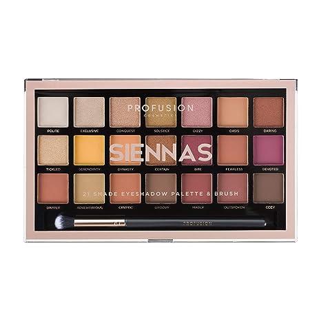Profusion Cosmetics - Colección de 21 Paletas De Sombras De Ojos y Pinceles, Siennas