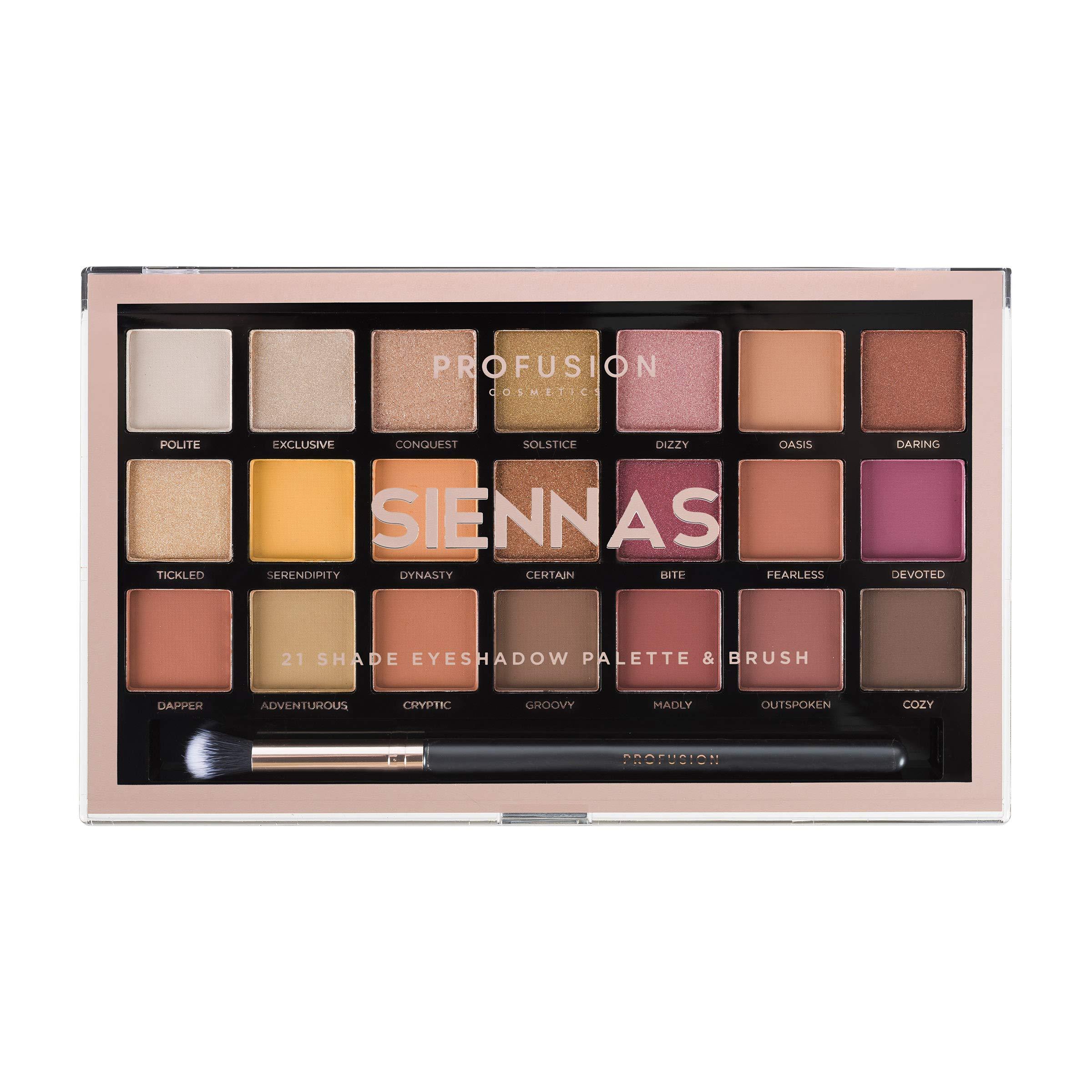 31879c324c Amazon.com : Profusion Cosmetics 21 Shade Eyeshadow Palette Collection &  Brush, Siennas : Beauty