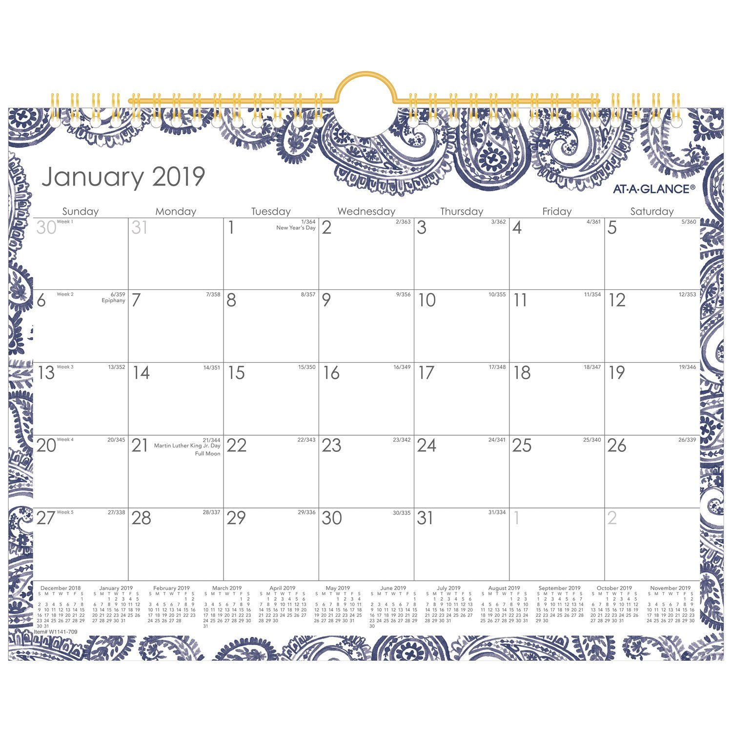 AT-A-GLANCE 2019 Monthly Wall Calendar, 11'' x 8-1/2'', Small, Wirebound, Paige (W1141-709)