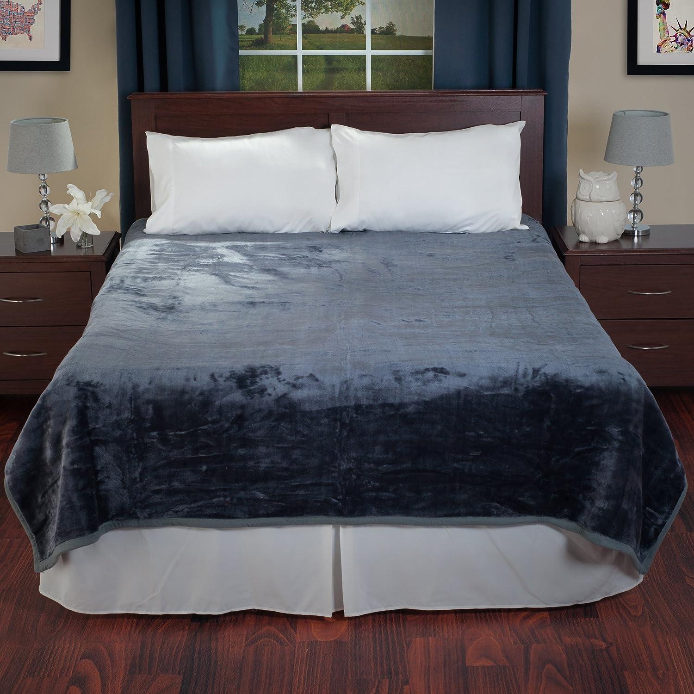Lavish Home Solid Soft Heavy Thick Plush Mink Blanket 8 Pound - Grey