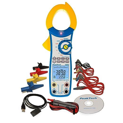 PeakTech 1660 - Pinza amperimétrica con USB, 1000 A CA, 9999 ...
