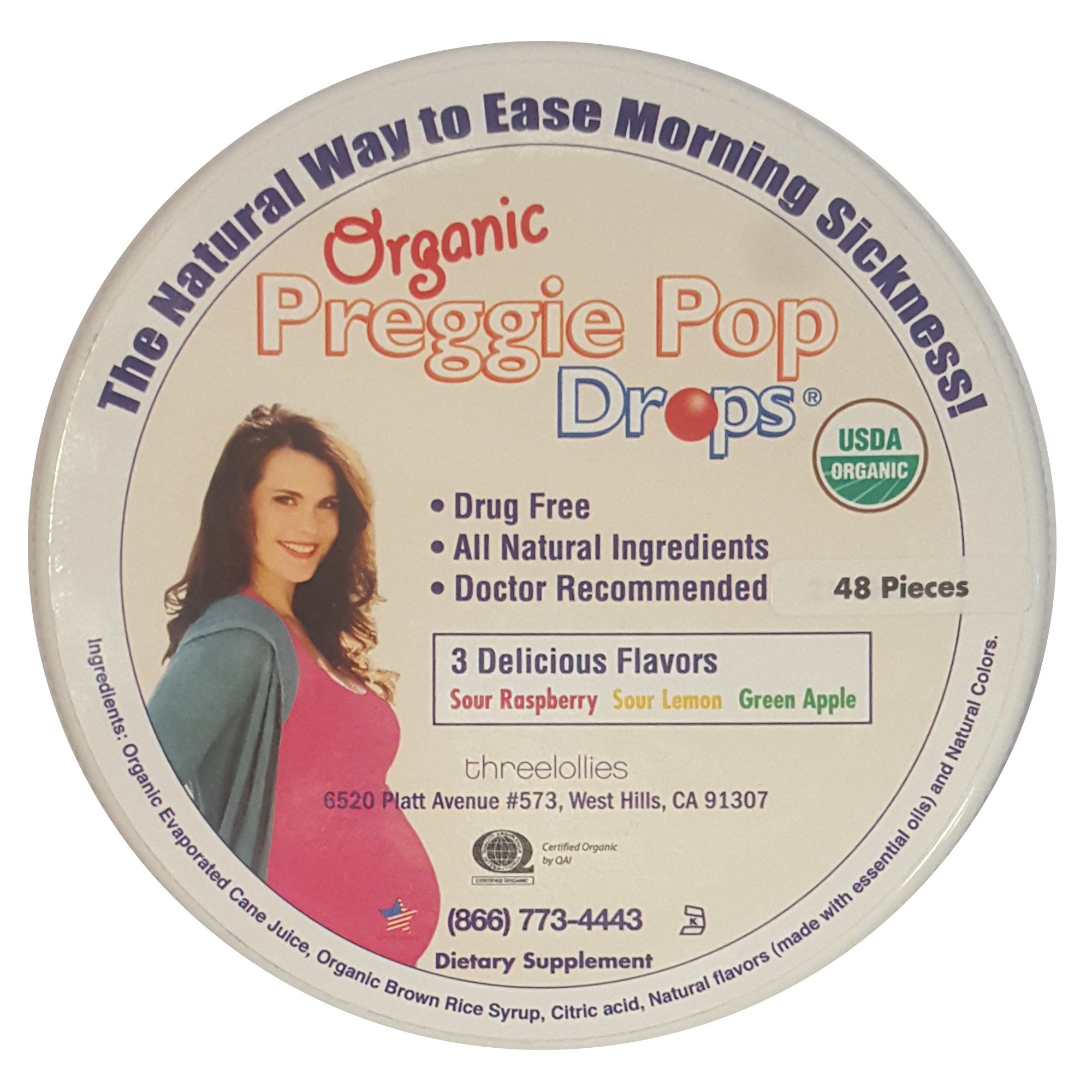Three Lollies Preggie Pop Drops Assorted for Morning Sickness Relief Organic, 48 count by Three Lollies
