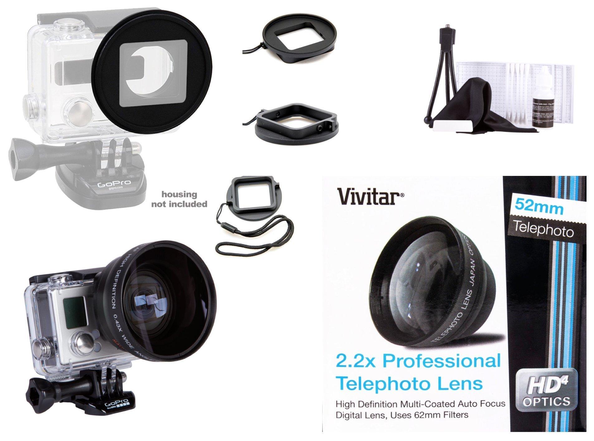 Vivitar 52mm Ring Filter Adapter for GoPro HERO3/ HERO3+/ HERO4 + 52mm Vivitar Professional HD 2.2x Telephoto Lens (MPN: V-52T) by Vivitar