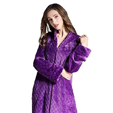 Bata De Mujer, Pijamas De Cremallera con Bordado De Franela De Albornoz (1Pcs), Purple, XL: Amazon.es: Ropa y accesorios