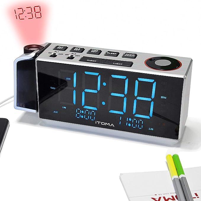 Reloj Despertador de proyección iTOMA, Radio Reloj Despertador FM con Alarma Dual, Carga USB, Radio FM Digital, luz Nocturna, indicador LED Azul de 1.8
