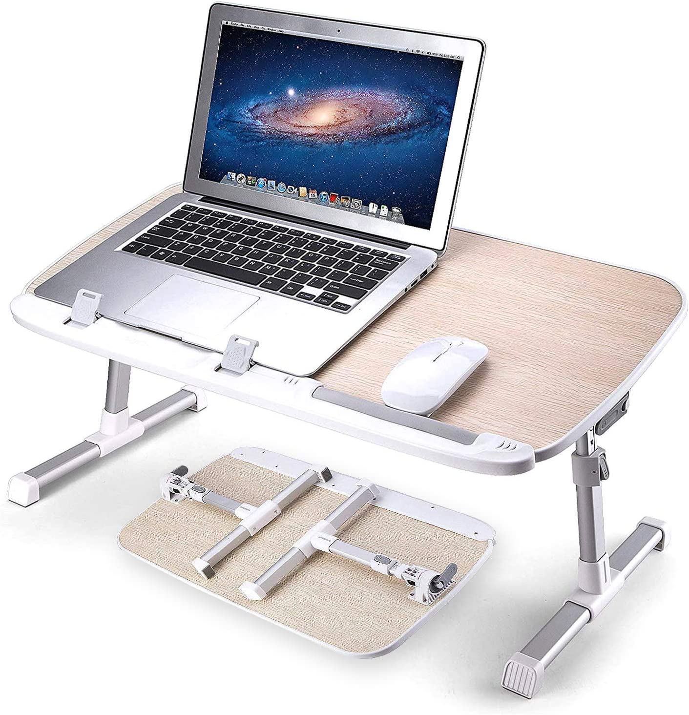 AboveTEK Laptop Bed Tray Table, Adjustable Laptop Bed Stand, Portable Standing Table with Foldable Legs, Foldable Lap Tablet Table for Sofa Couch Floor