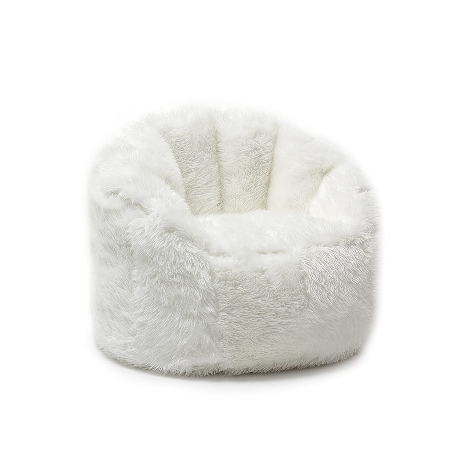 bean bag chair for adults white fluffy furry shaggy teens kids dorm room bedroom ebay. Black Bedroom Furniture Sets. Home Design Ideas