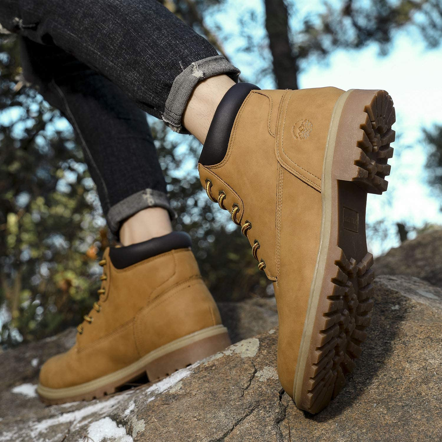 Pulltop Mens Chelsea Boots Motorcycle Chukka Boots Casual Hiking