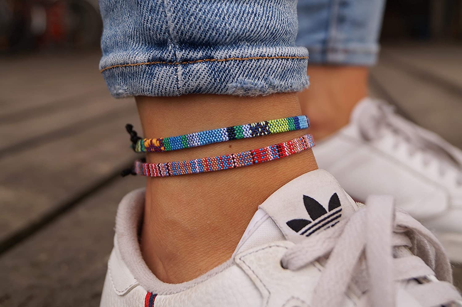 Ethno Ankle Bracelet Set of 2 for Women and Men 100/% Waterproof and Adjustable Thin String Rope Anklet 2x Boho Surfer Anklet Unisex M-Turquoise Handmade Beach Jewelry /& Festival Accessories