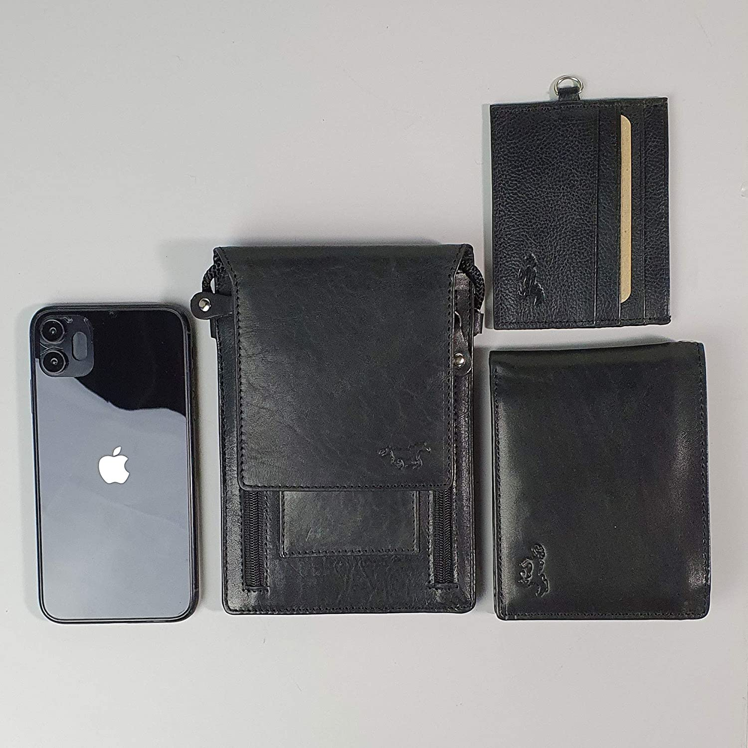 Leather Phone Pouch Neck Wallet Travel
