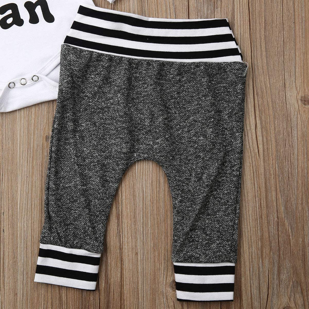Newborn Infant Baby Boys Outfits Three Piece Romper Bodysuit Cotton Pants Little Man Beanie Sleepers Clothes Set