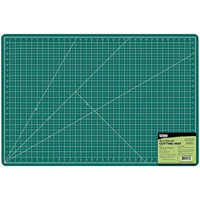 "US Art Supply 24"" x 36"" GREEN/BLACK Professional Self Healing 5-Ply Double Sided Durable Non-Slip PVC Cutting Mat Great"