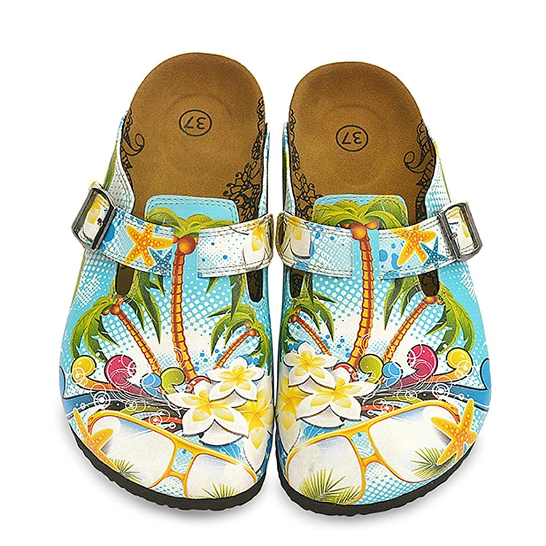 Blue & Yellow Tropical Clogs WCAL337 38 EU