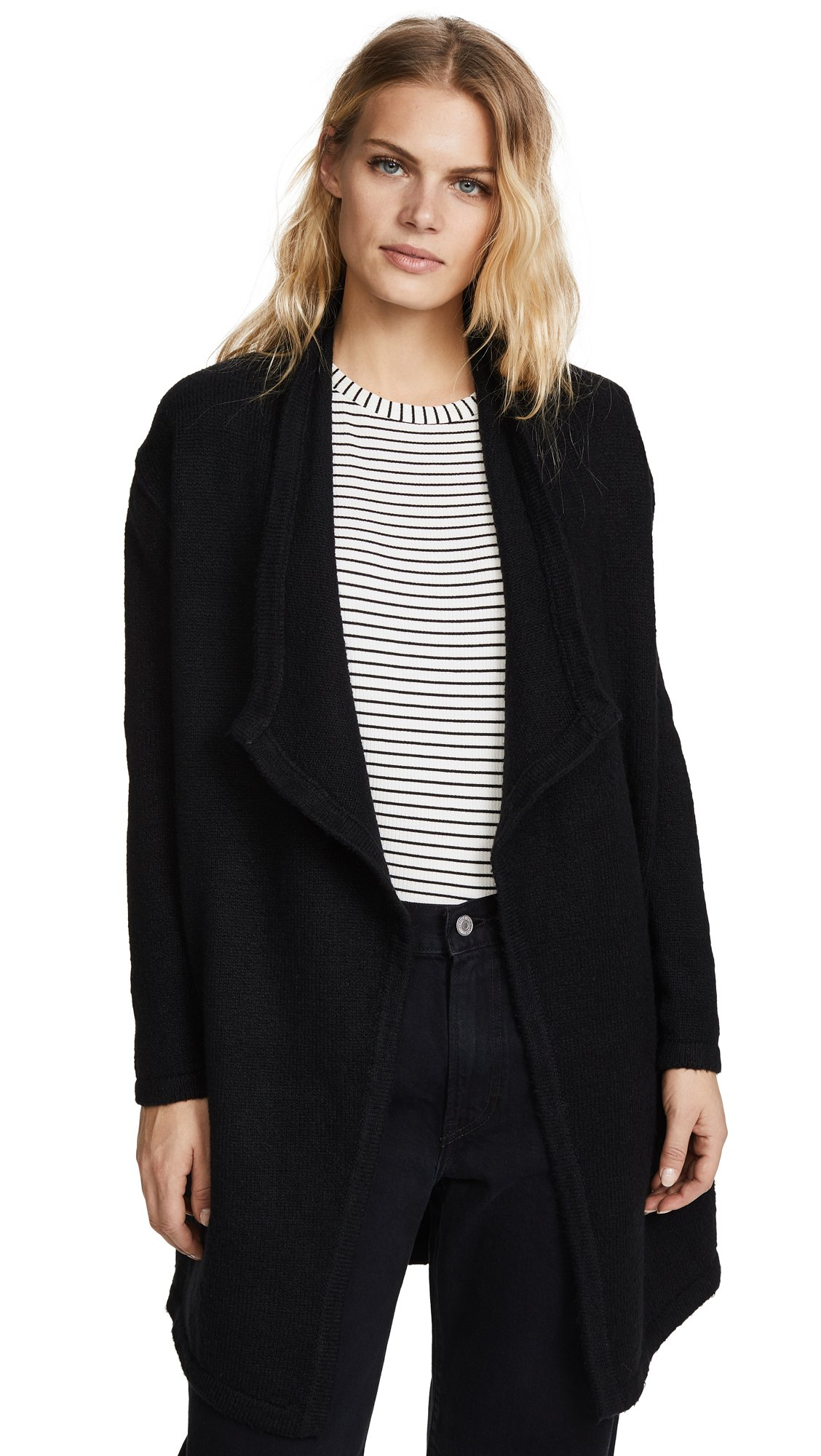 cupcakes and cashmere Women's Sahar Drape Front Cardigan, Black, X-Small