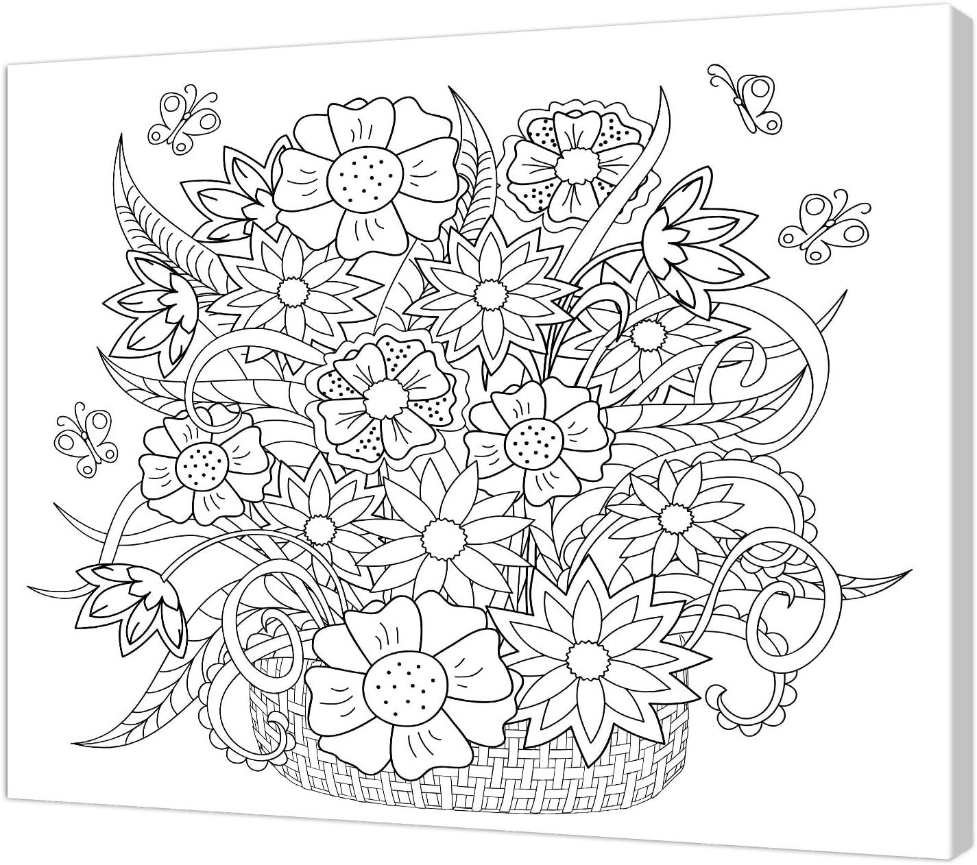 40/x 50/x 3.5/cm Pintcolor 7813.0/Marco con Lienzo Impreso de Colorear Madera de Abeto Blanco//Negro