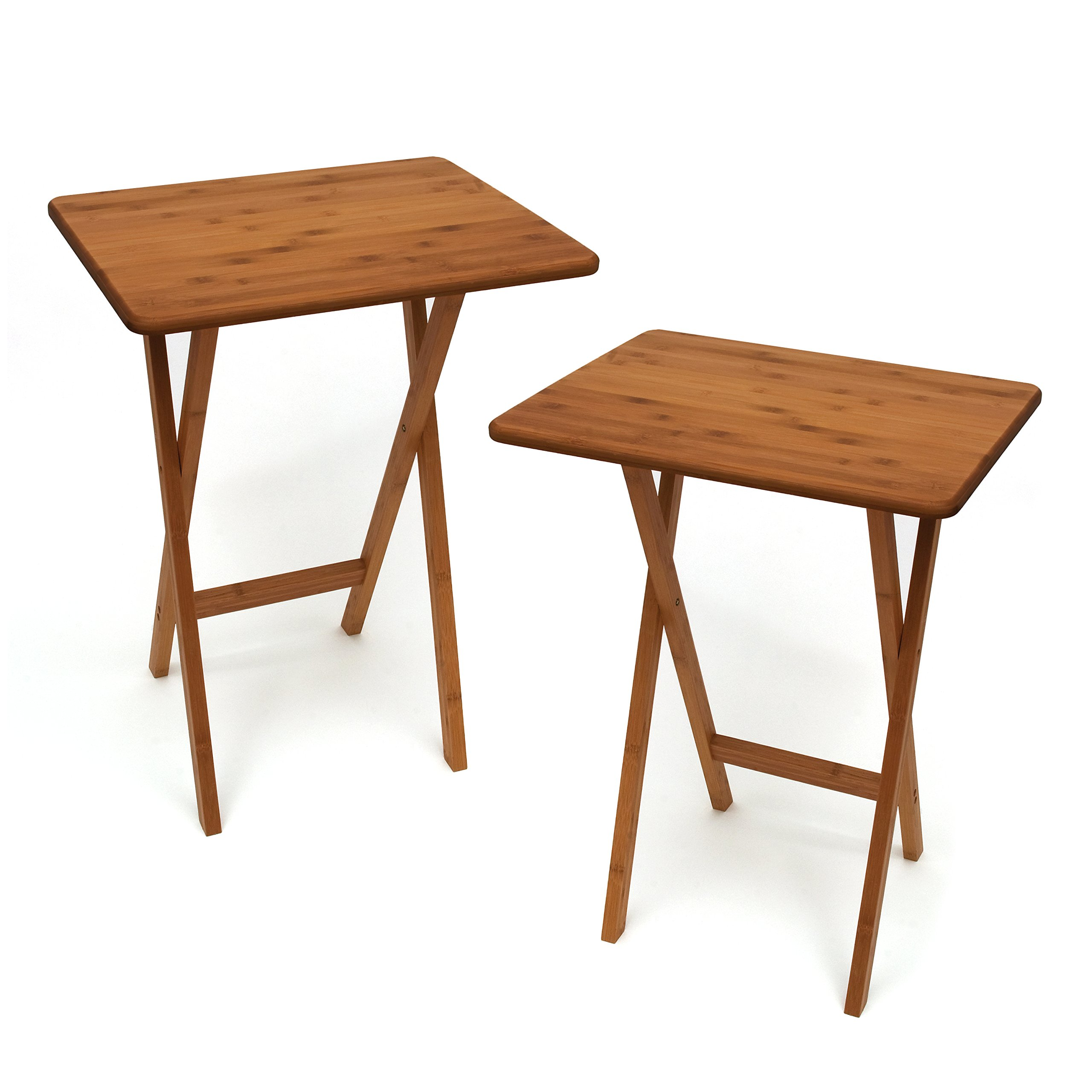 Lipper International 803-2 Bamboo Wood Rectangular Snack Tables, 18.75'' x 15'' x 24.75'', Set of 2 Tables