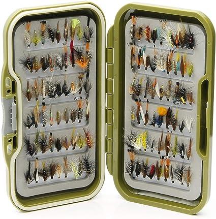25 Lakeland Fishing Supplies wasserdichte Fliegenbox 50 oder 100 x gemischte Trockenfliegen 10