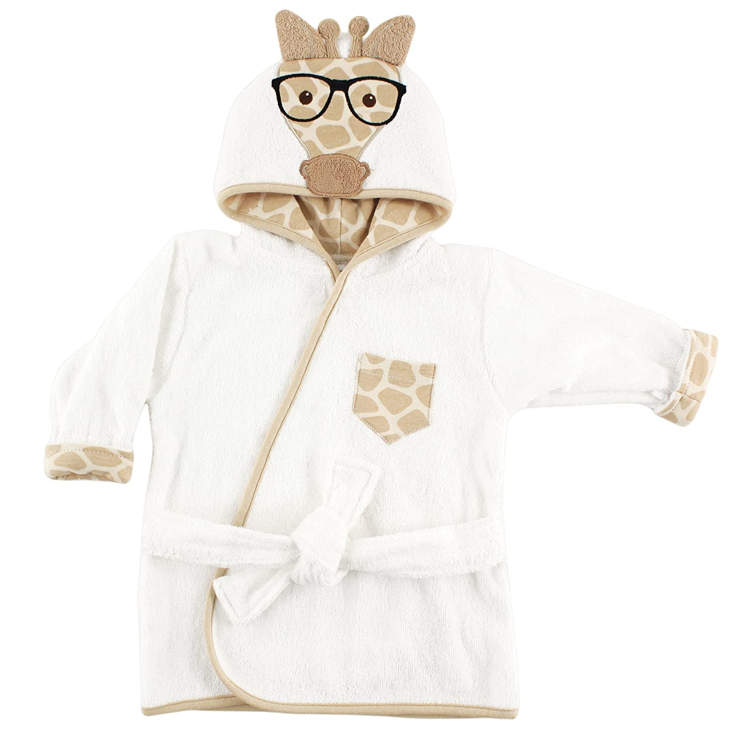 Hudson Baby Unisex Baby Cotton Animal Face Bathrobe, Nerdy Giraffe, One Size