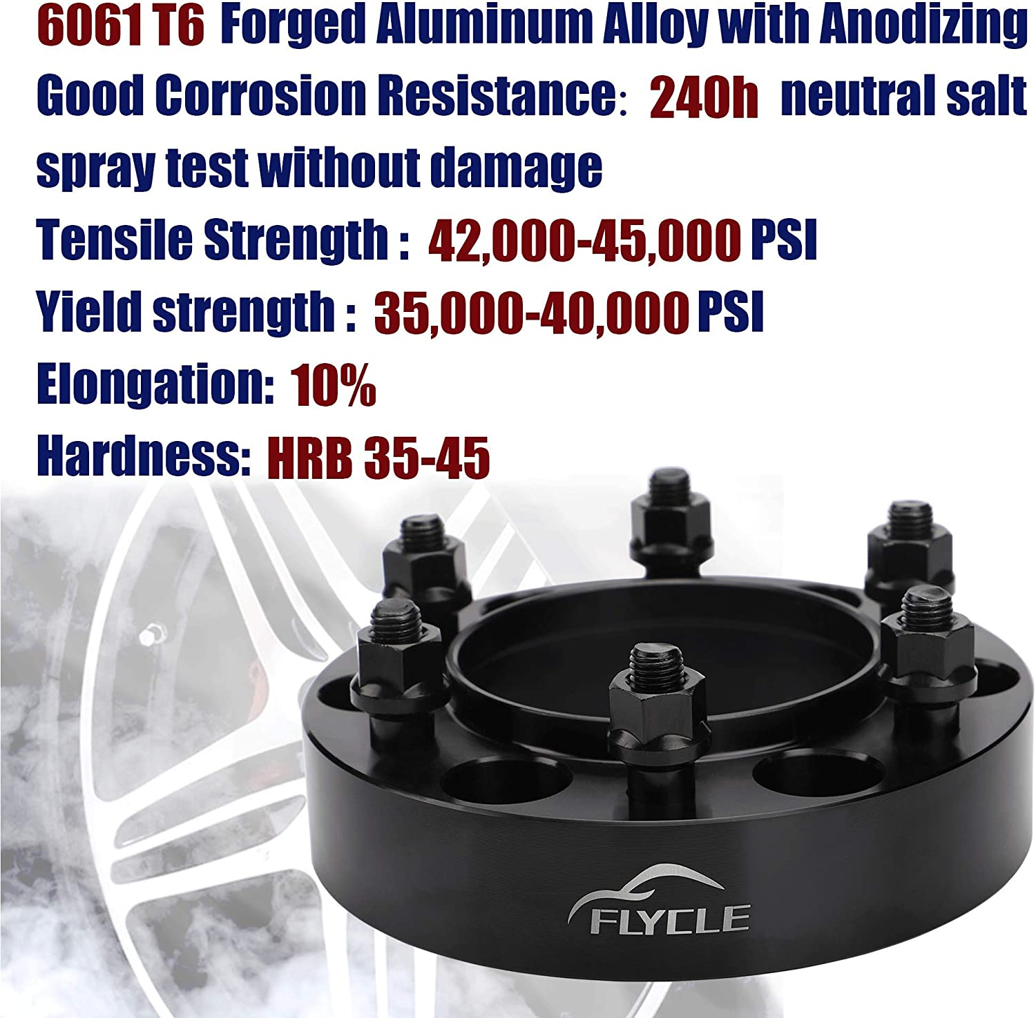 FLYCLE 1.25 inch Wheel Spacers 6x5.5 Compatible with Tacoma 4Runner Tundra FJ Cruise Fortuner with 106mm Center Bore /& 12x1.5 Studs