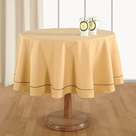 Etonnant Handmade Beige Table Linen 4 Seater Round Tablecloth   Premium Cotton  Fabric 60 Inch Diameter
