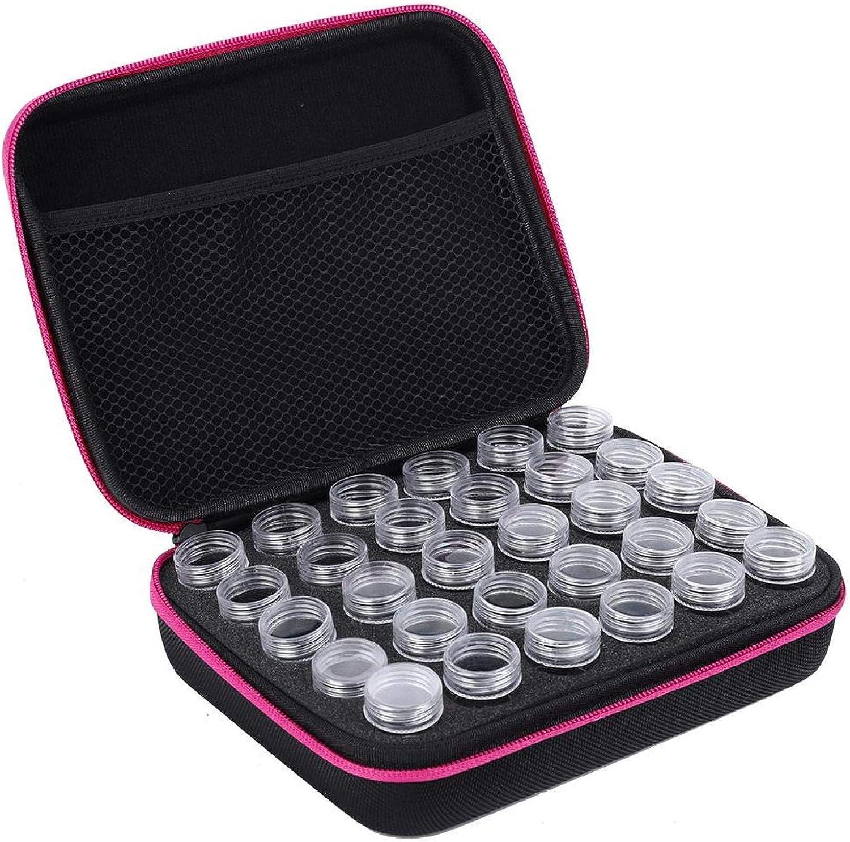 Caja de bordado de diamantes de 30 ranuras, caja de almacenamiento de herramientas Diseño de maleta para almacenar diamantes, píldoras, pendientes, anillos, collares(Rosa roja)