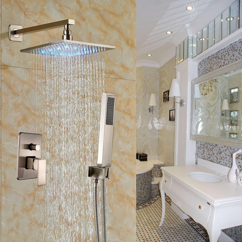 sr sun rise srsh f5043 bathroom luxury rain mixer shower combo set rozin brushed nickel 2 way mixer shower set led light 12 inch rainfall shower head with hand spray