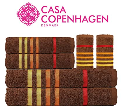 Casa Copenhagen 500 GSM Egyptian Cotton 75x150cm 1 Bath Towel, 1 60x120cm Bath Towel, 2 40x60cm Hand Towel and 2 30x30cm Face Towel-Toffee (Pack of 6)