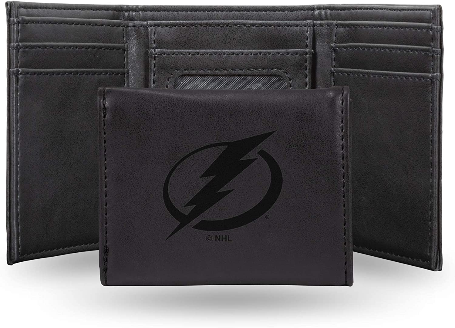NHL Rico Industries  Laser Engraved Trifold Wallet Tampa Bay Lightning