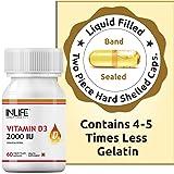 INLIFE Vitamin D3 Cholecalciferol Supplement for Men Women 2000 IU - 60 Liquid Filled Capsules