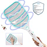 Bug Zapper Racket,Electric Fly Swatter,Fly Killer and Mosquito Swatter - USB Charging - 3000 Volt - Bright LED Light - Unique 3-Layer Safety Mesh Safe