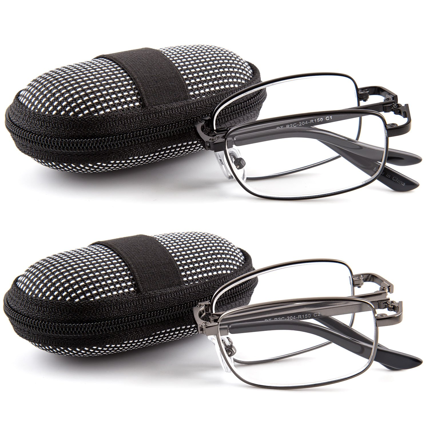 DOUBLETAKE 2 Pack Foldable Readers w Zip Case Reading Glasses