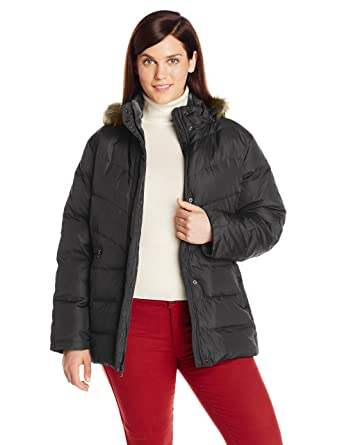 ea077ea3f1c Larry Levine Women s Plus-Size Down Jacket with Removable Faux Fur Trim  Hood