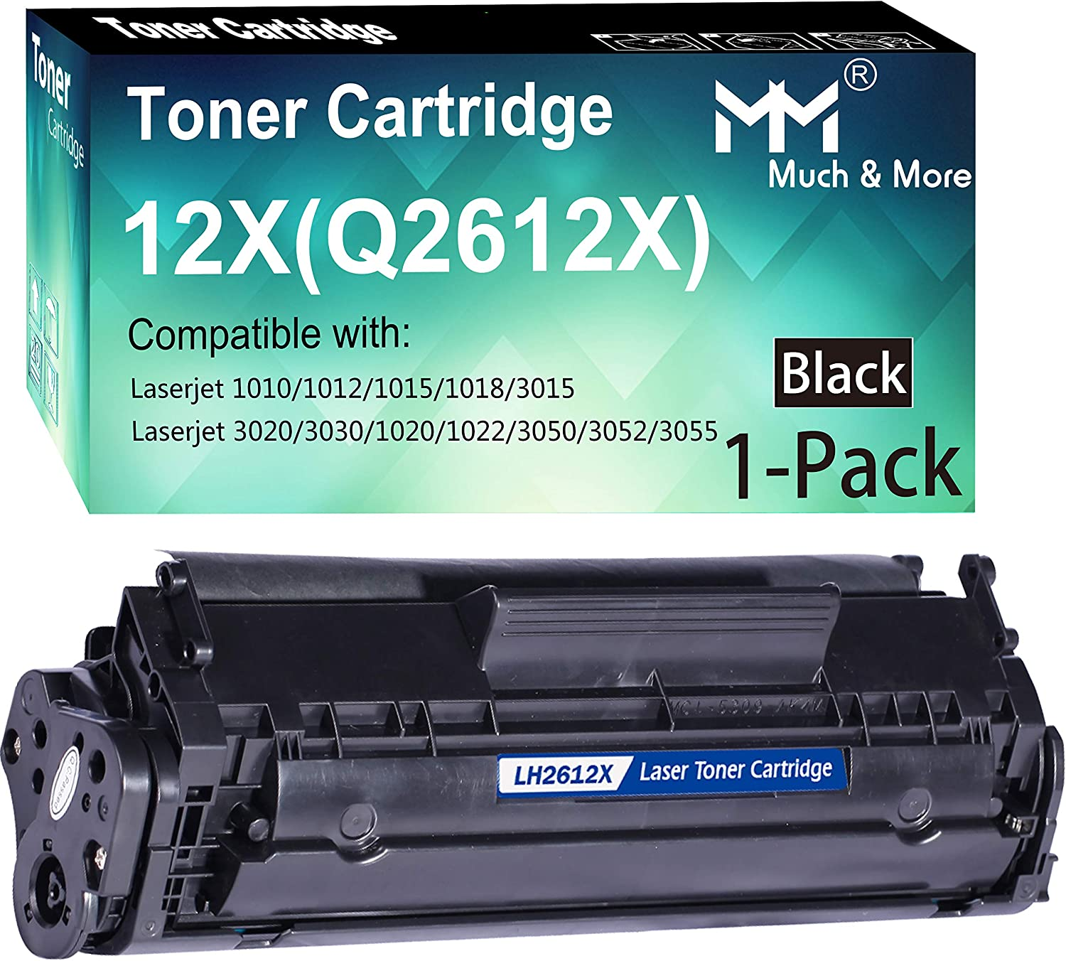 Compatible (1-Pack, 2500 Pages) 12X Q2612X High Yield Toner Cartridge 2612x Used for HP Laserjet 1012/1015/1018/1022/1020/3015/3020/3030/M1319f M1005 1022nw 1022n 3050/3050z Printer, by MuchMore