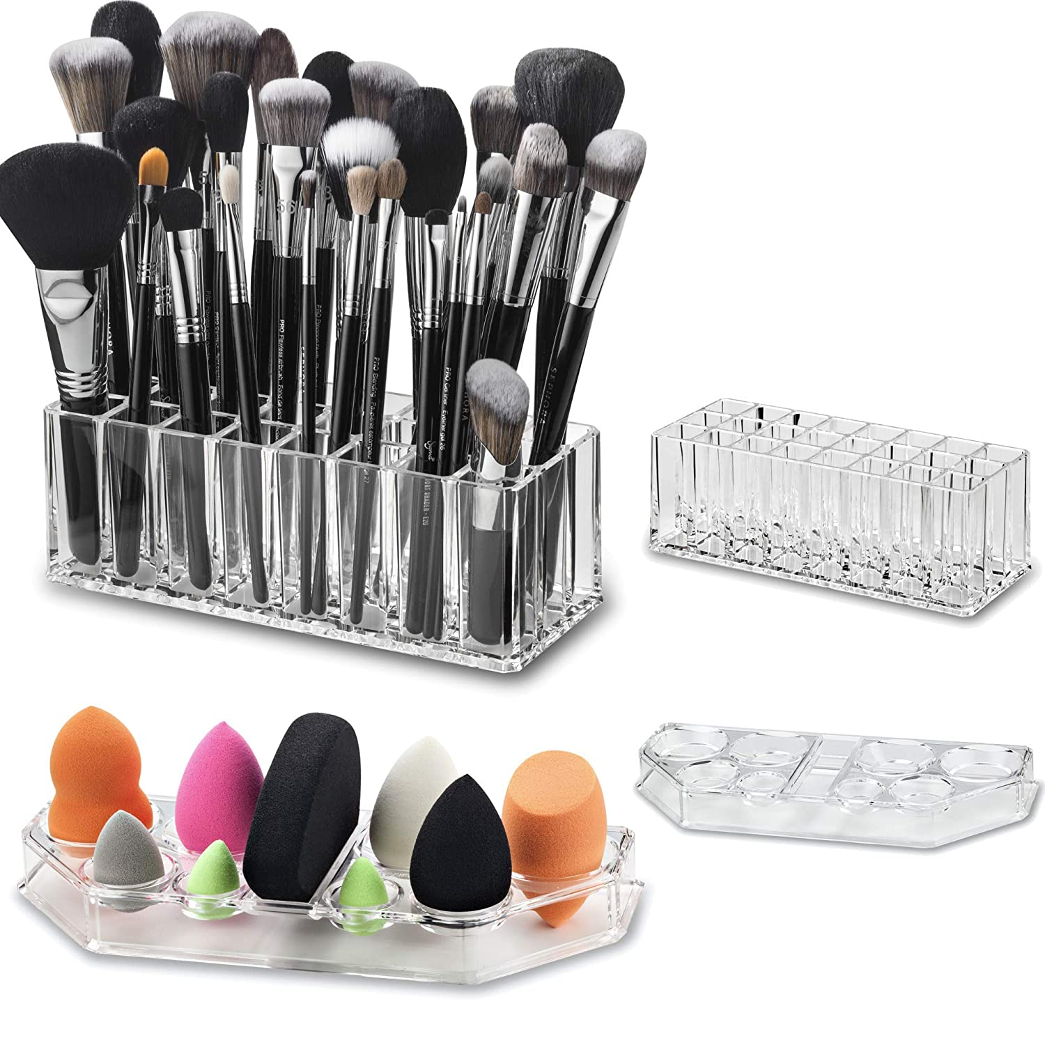 byAlegory Set of (1) Acrylic Makeup Brush Organizer 24 Space Cosmetic Storage & (1) Beauty Sponge Tray for Drying, Storing Body Face Blending Sponges - Clear
