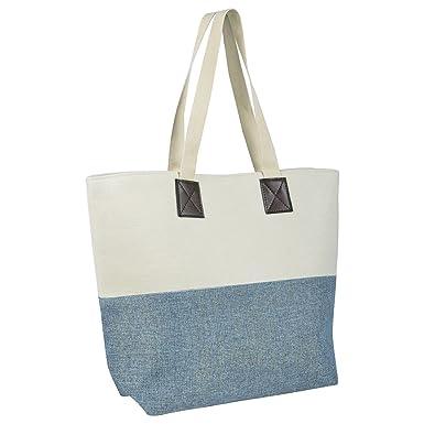 b28bd22f39 Ladies Canvas Beach Shoulder Bag Handbag Shopping Tote Holiday Shimmer  Blue  Amazon.co.uk  Clothing