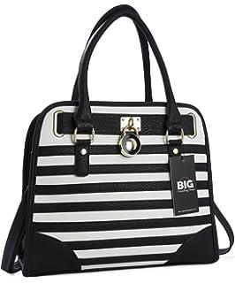 147574bfd4 Big Handbag Shop Womens Top Handle Designer Inspired Stripe Pattern Tote Shoulder  Bag