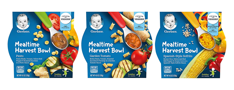 Gerber Mealtime Harvest Bowl Variety Pack - 1 Pesto, 1 Garden Tomato, 1 Spanish Style Sofrito - Non GMO, No Preservatives, 1 Full Serving of Veggies - 4.5 OZ Bowls (Pack of 3)