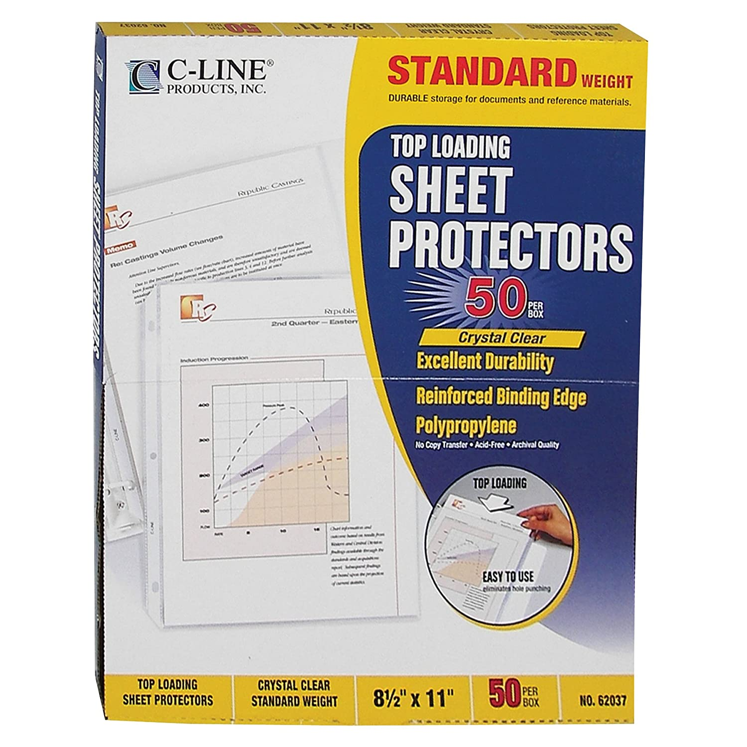 C-Line Top Loading Sheet Protectors, Standard Weight Polypropylene, for 8.5 x 11-Inch Sheets, 25-Pack, 05047 C-Line Products Inc.