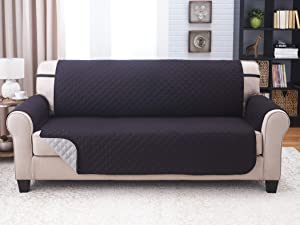 Couch Guard Sofa Cover, Slipcover, Furniture Protector. Shield & Protects from Dogs, Cats, Pets, Kids, Stains. Reversible, Quilted with Elastic Strap. Easy Wash and Dry. (Sofa, Black/Grey)