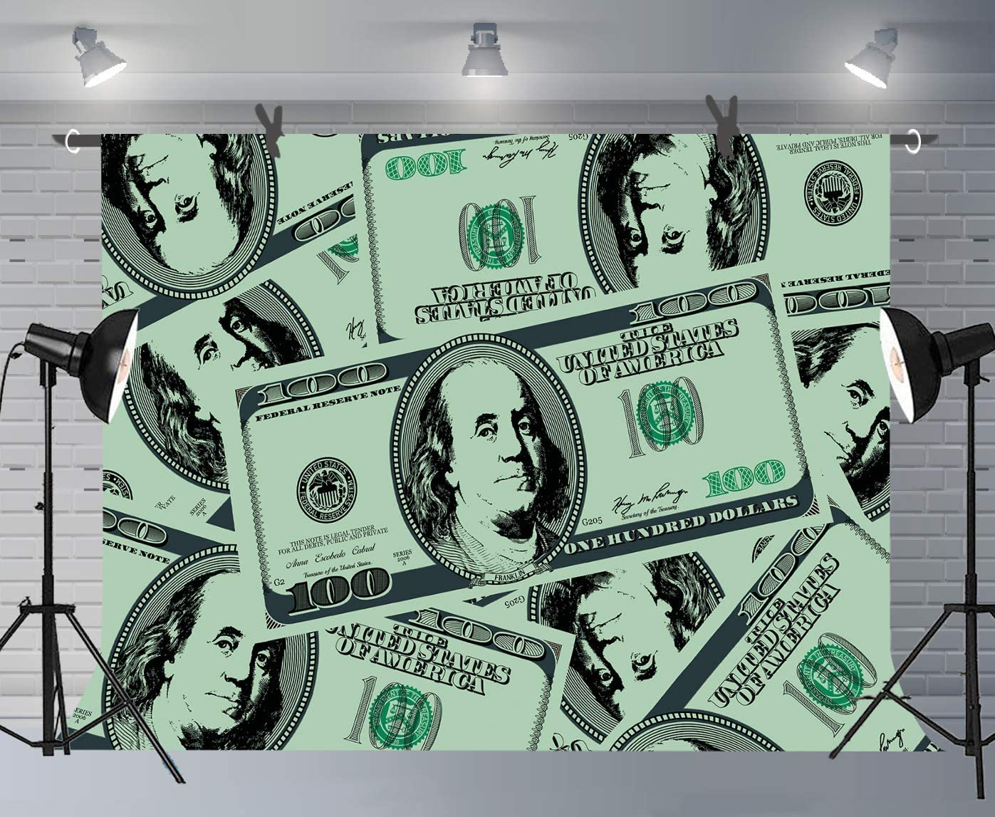 10x8ft Background Dollar Wealth Backdrop for Photography Photos Props Wall Murals LHFU539