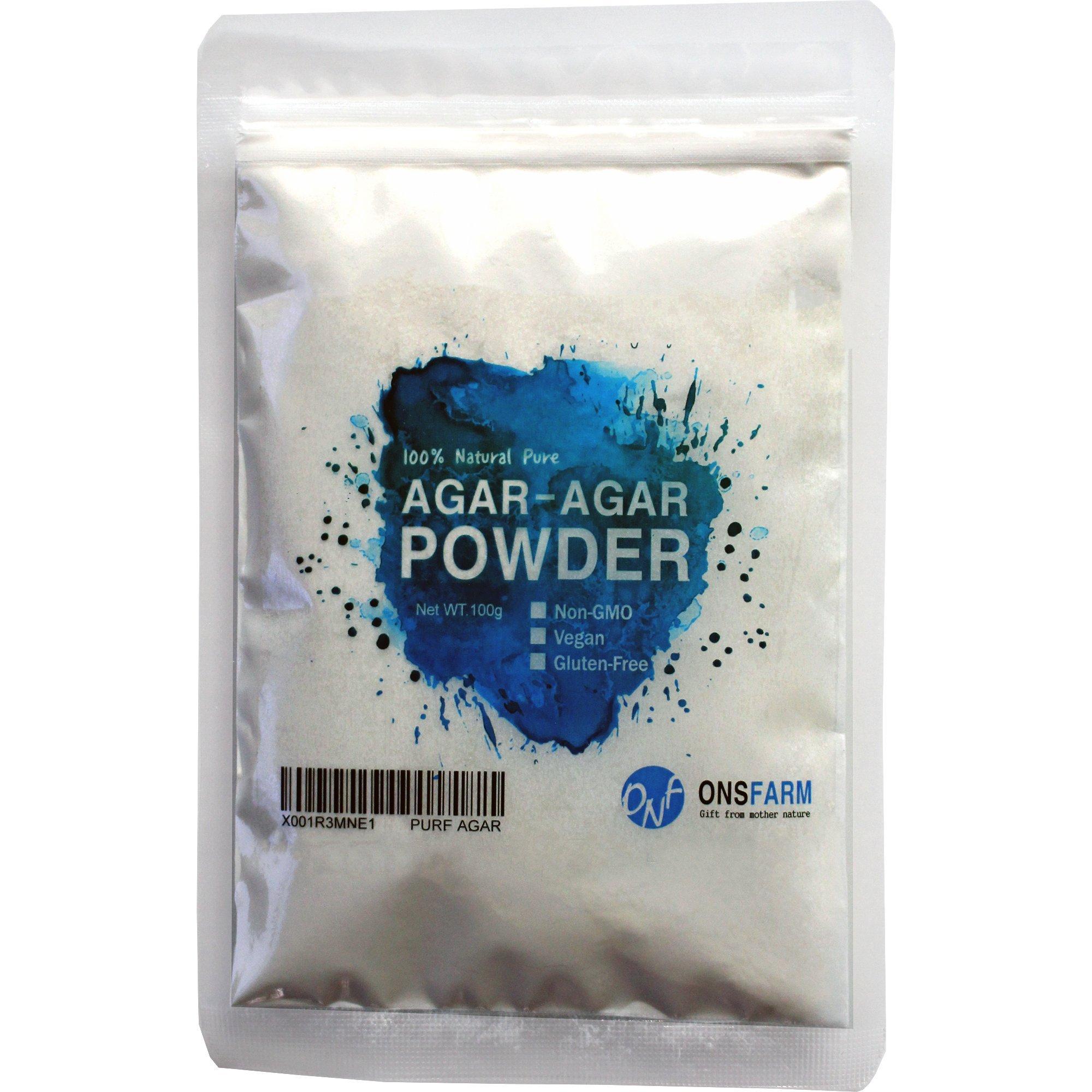 ONSFARM Agar Agar Pure Powder 3.53oz (100g) - Weight Loss and Vegan Gelatine Dietary Fiber Supplement Unflavored and Odorless Agar Powder Alternative Animal Gelatin for Vegiterian and Vegans